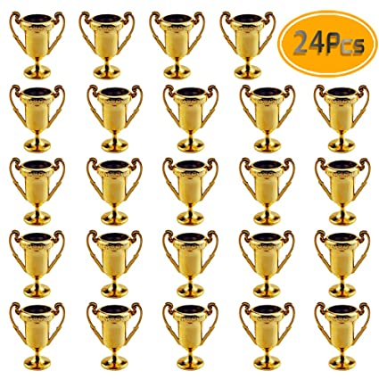 Plastic Trophies – 24 Pack 2 2 Inch Cup Golden Trophies For Children,  Competitions, Awards, Parties, Party favors, Props, Rewards, Prizes, Games,