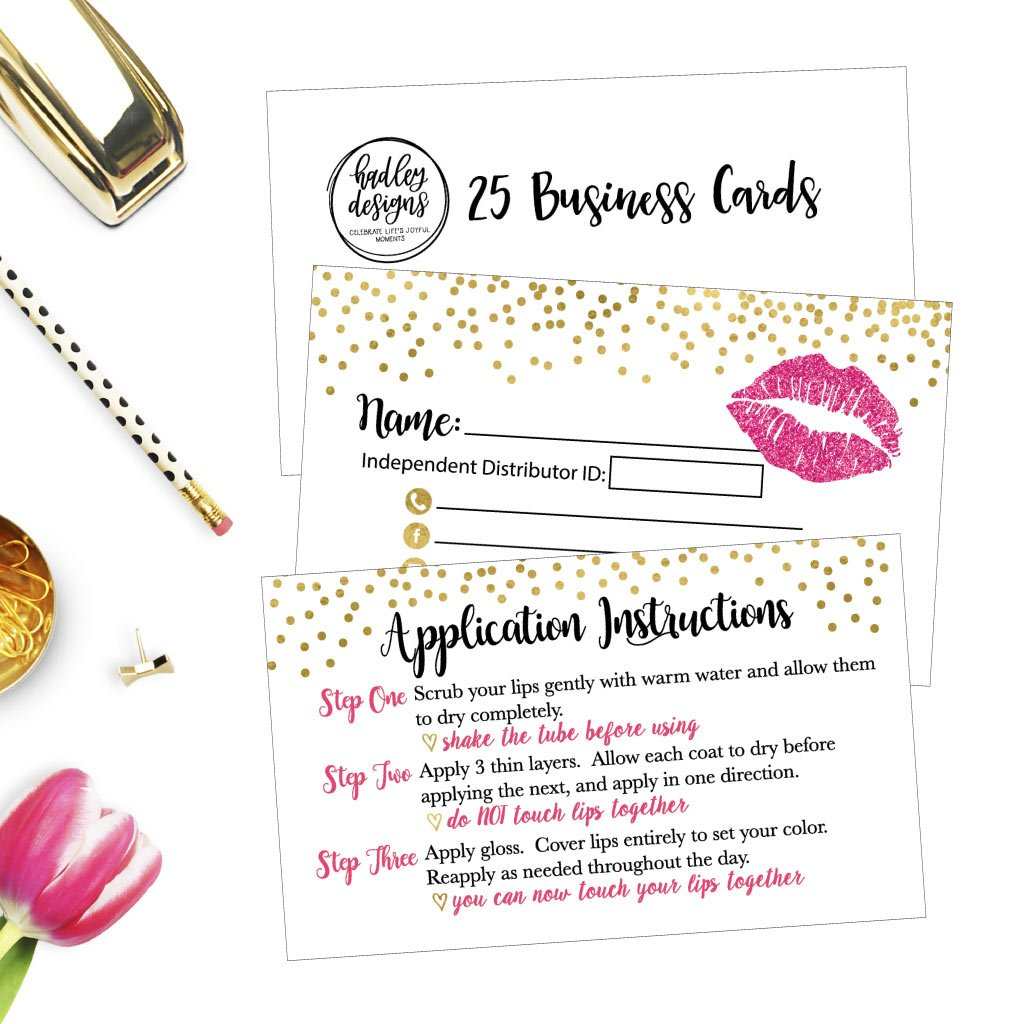25 Lipstick Business Marketing Cards, How To Apply Application Instruction Tips Lip Sense Distributor Advertising Supplies Tool Kit Items, Makeup Party For Lipsense Younique Mary Kay Avon Amway Seller by Hadley Designs (Image #3)