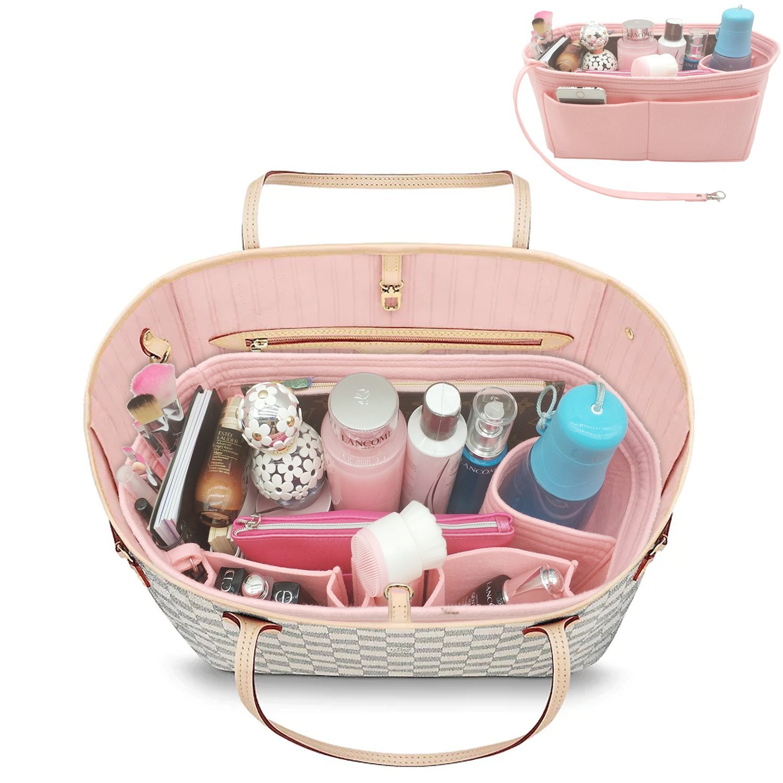 YOOXI Inner Zipper Pocket Felt Insert Bag Organizer Bag In Bag For Handbag with Key Chains Pink Large