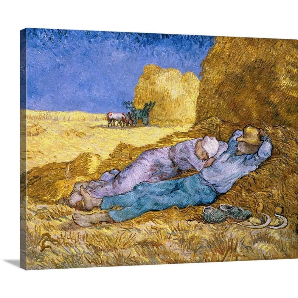 Vincent ( 1853 – 1890 ) van goghプレミアムシックラップキャンバス壁アート印刷題名正午、またはシエスタ、後ミレー、1890 30
