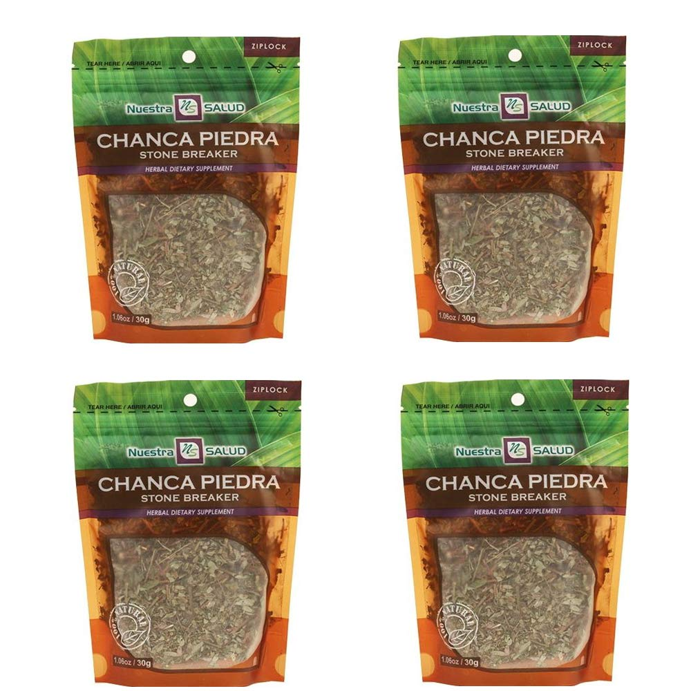Chanca Piedra Stone Breaker 100% Natural Made in Peru - 4 Zip Lock Loose Leaf Tea Bags Bundle