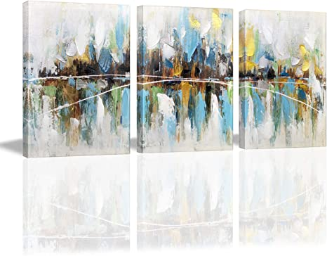 Amazon Com Paimuni Modern Abstract Colorful Canvas Wall Art 3 Panel Print With Embellishment Painting Wall Pictures For Home Decoration Ready To Hang 12x16 Inch Posters Prints