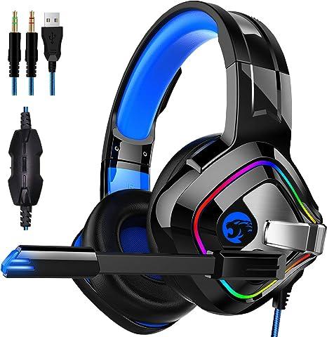 BAIYI Gaming Headset para Xbox One, PS4, Nintendo Switch PC Mac Cancelación de Ruido Micrófono Bass Surround LED Light Soft Memoria Orejeras: Amazon.es: Deportes y aire libre