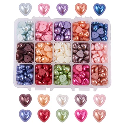 500 Mixed Color Flatback Resin Heart Cabochons 10mm Flower Top Scrapbook Craft