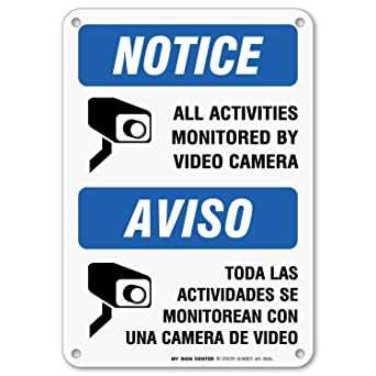 graphic regarding Video Surveillance Sign Printable titled Basic safety Digital camera Indicator, Bilingual English/Spanish, All Routines Are Monitored As a result of Movie Surveillance, Outside Rust-Totally free Steel, 7\
