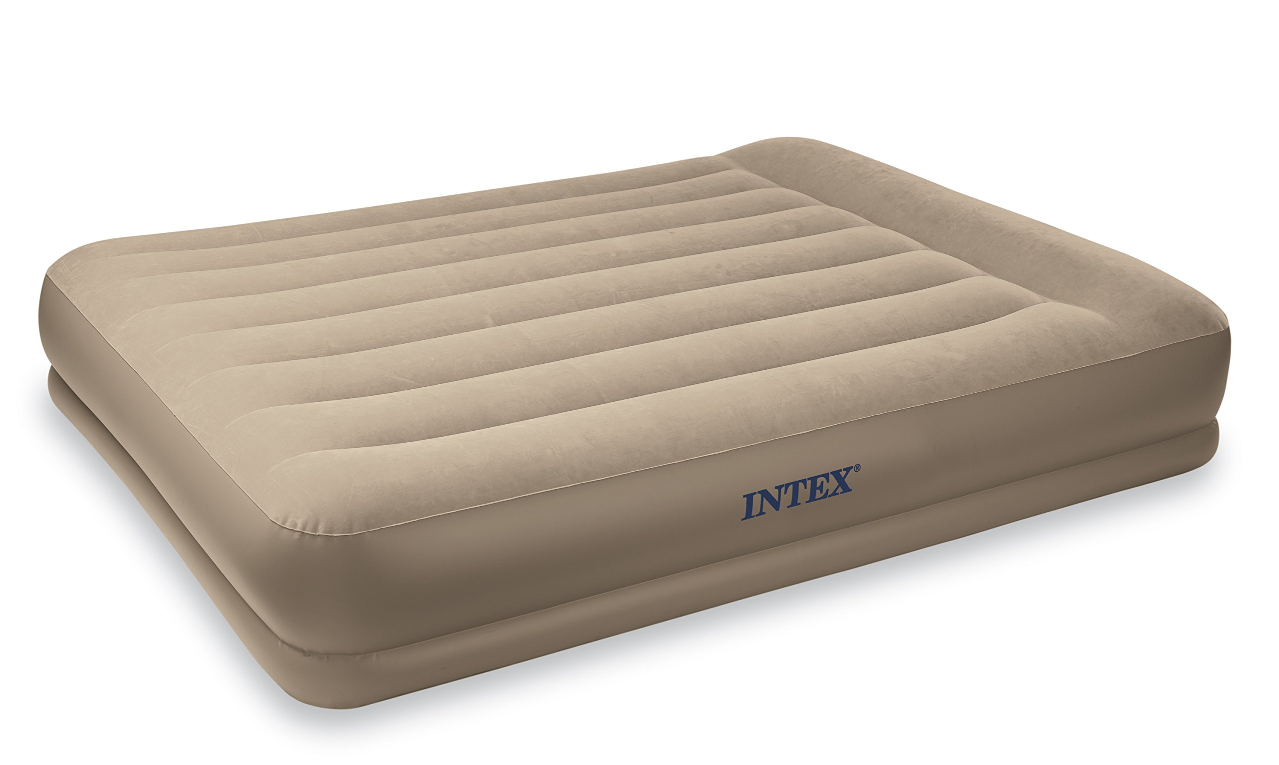 Intex Pillow Rest Mid-Rise Airbed with Built-in Pillow and Electric Pump, Queen, Bed Height 13 3/4''
