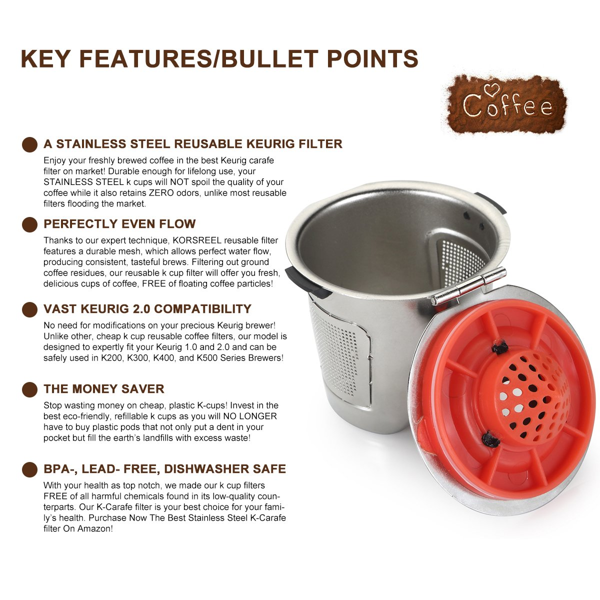 amazoncom korsreel premium 2pack stainless steel reusable k cups top k cup refillable coffee filter compatible with keurig brewers 10 u0026 20 for k200 - Cheap Keurig