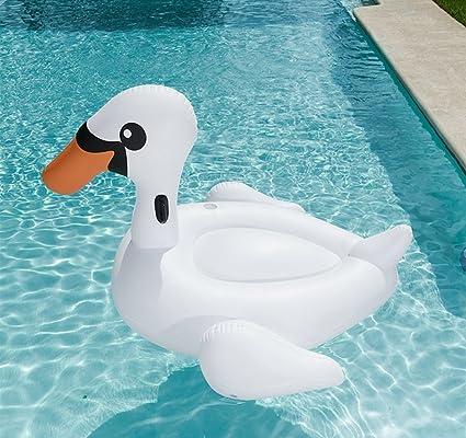 DMGF Gigante Piscina Inflable Flotador Ocioso Cisne con Balsa/Portavasos/ Asas Nadar Anillo Verano