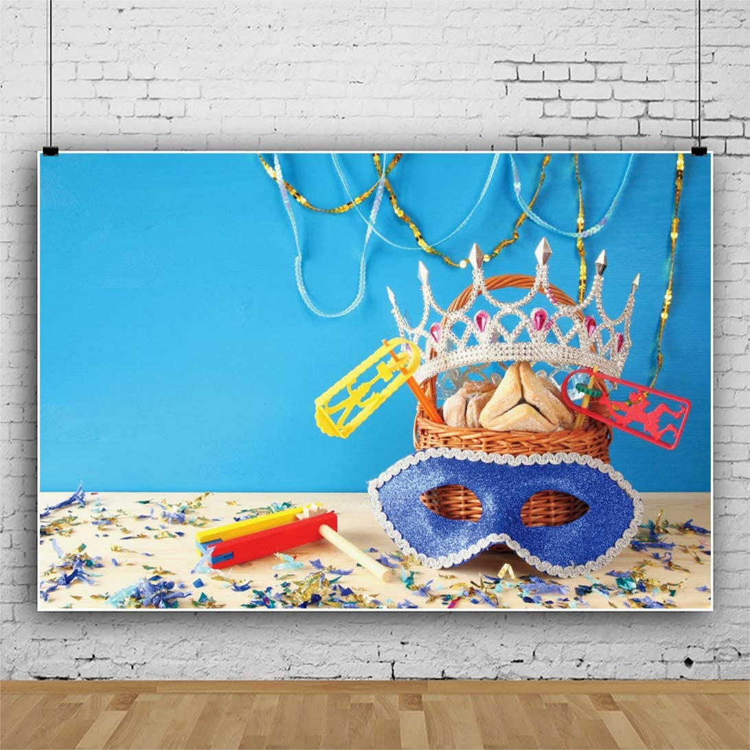 YongFoto 10x9ft Carnival Celebration Party Banner Happy Purim Photography Background Blue Carnival Mask Shiny Crown Holiday Festival Confetti Basket Hamantaschen Cookies Jewish Purim Photo Backdrop