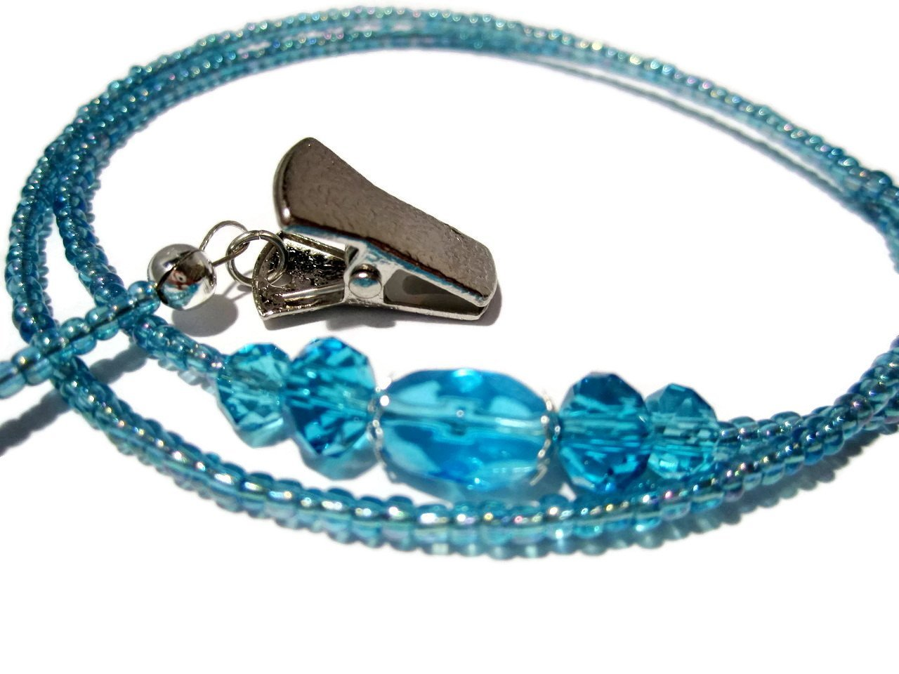 ATLanyards Bright Blue Eyeglass Holder - Beaded Eyeglass Chain With Clips by ATLanyards