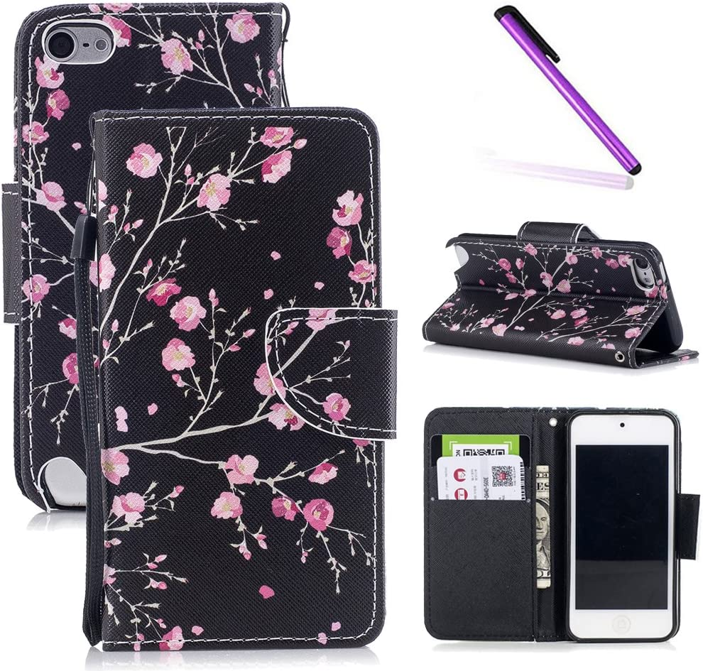 iPod Touch 6th Case,iPod Touch 5th Case,LEECOCO Fancy Print Floral Wallet Case with Card/Cash Slots [Kickstand] PU Leather Folio Flip Protective Case Cover for iPod Touch 6th / 5th Chinese Rose HX