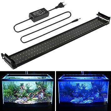 MAINLICHT Lámpara de Acuario Iluminacion led para peces y estanques Luz Azul Blanca 18W con Soporte
