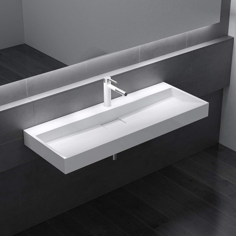Lavabo sobre encimera//suspendido blanco de dise/ño Colossum19 de 80 cm de Ancho doporro