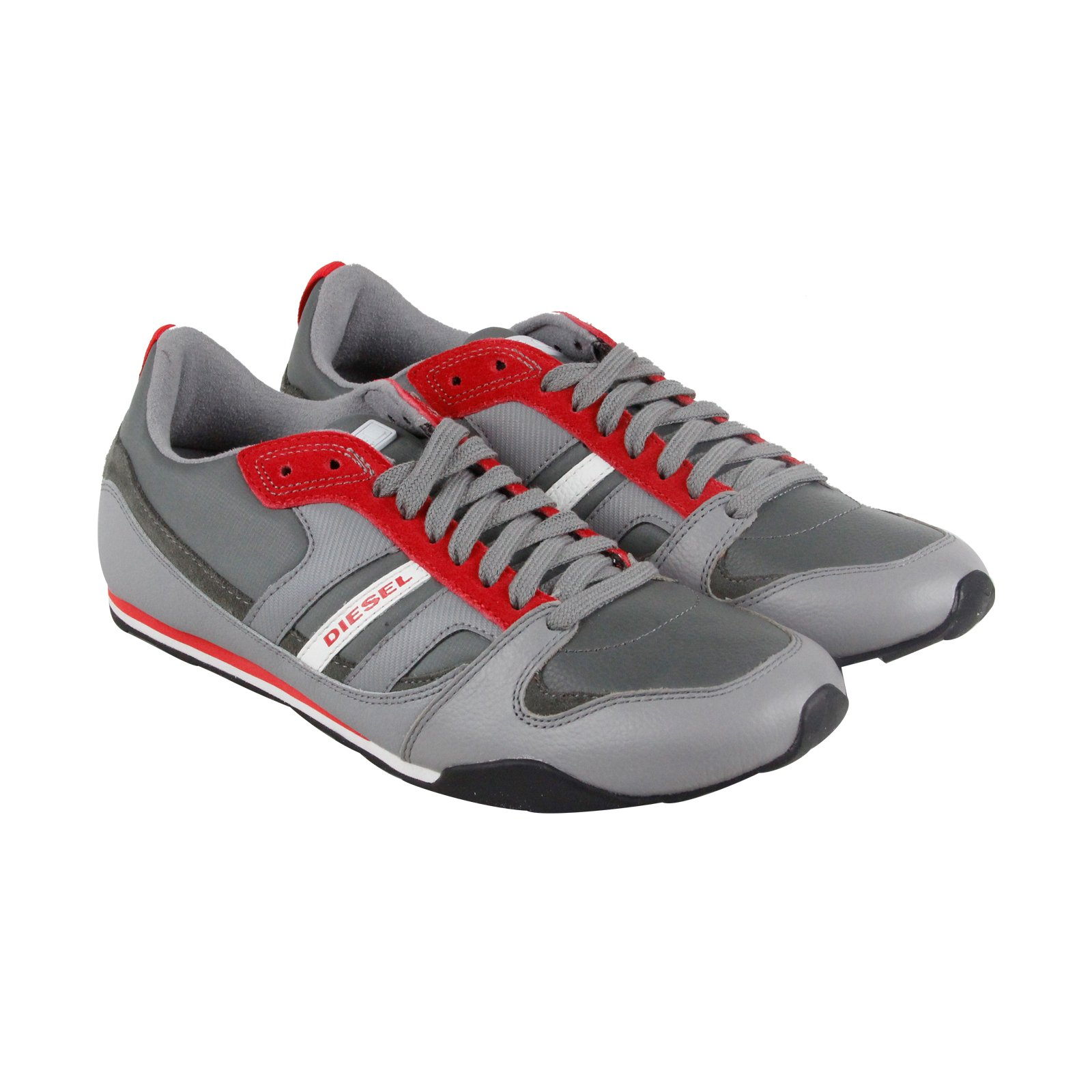 Diesel Men's Gunner Lace-Up Fashion Sneaker,Gunmetal/Frost Grey,8.5 M US