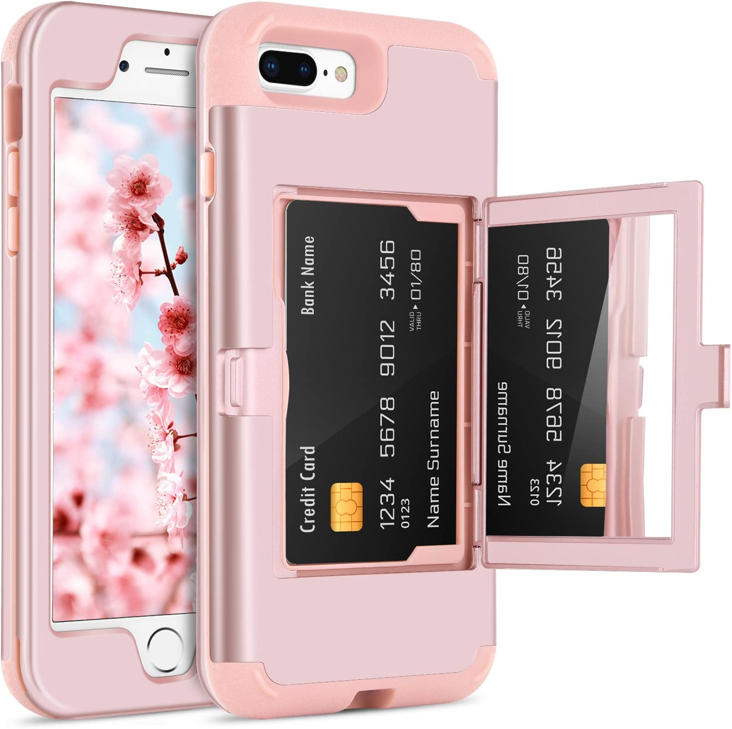 BENTOBEN Case iPhone 7 Plus/8 Plus, Credit Card Holder Slot Handy Mirror Women Girly Style Hard PC Soft TPU Rubber Heavy Duty Shockproof Protective Cellphone Cover for iPhone 8 Plus/7 Plus, Rose Gold