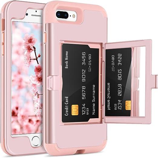 Rose-oro Espejo móvil silicona funda para Apple iPhone 7 Plus-Rosa