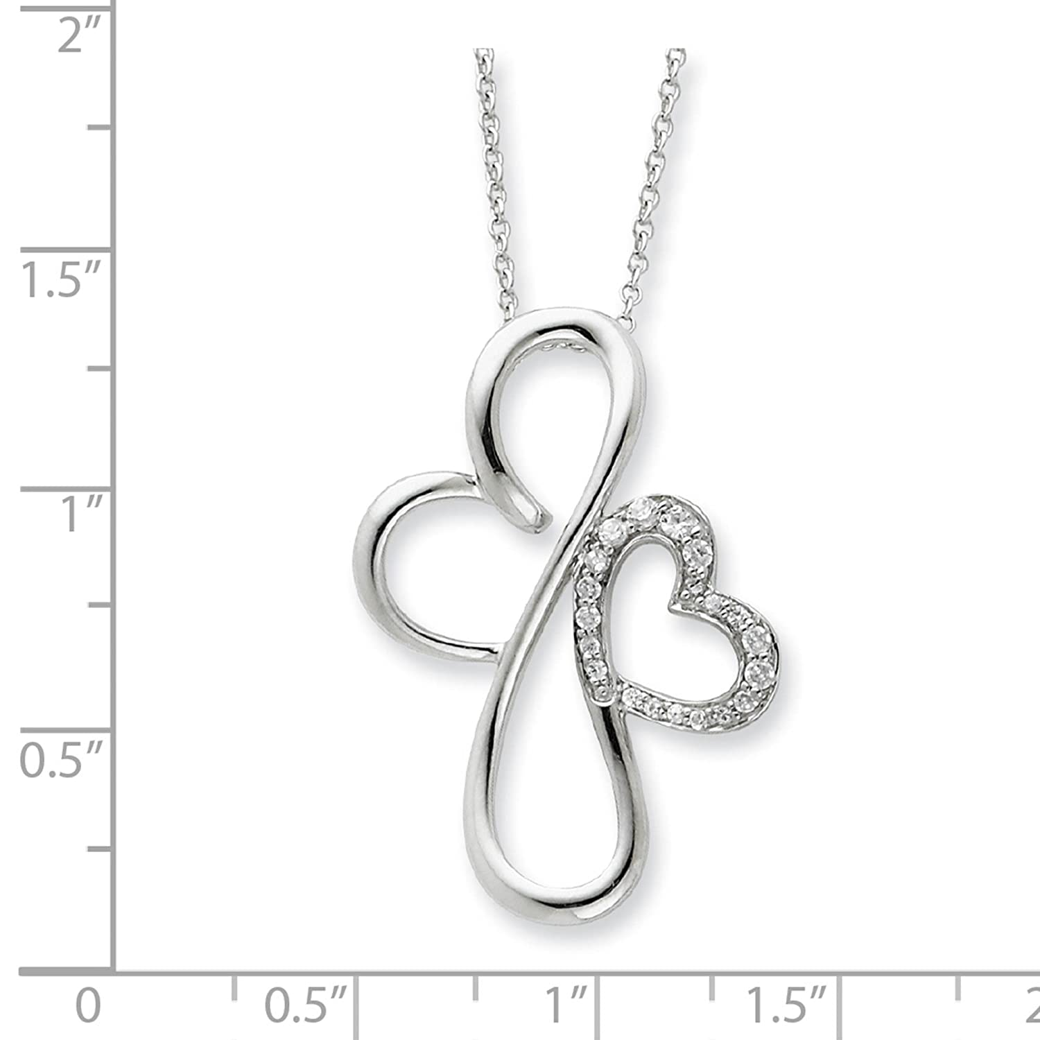 925 Sterling Silver Polished CZ Everlasting Love Pendant Necklace 18 by Sentimental Expressions
