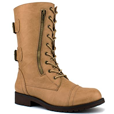 Miranda-01 Women's Military Ankle Lace Up Buckle Combat Boots Mid Knee High Exclusive Booties