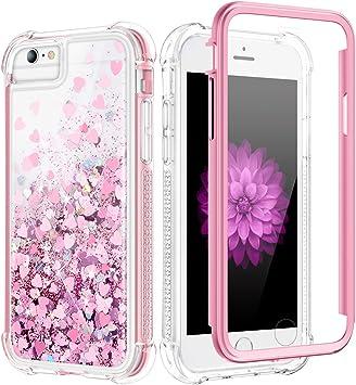 Caka Coque à paillettes pour iPhone SE 2020, iPhone 6 6S 7 8 Coque à paillettes brillante pour femmes filles Coque de protection complète liquide ...