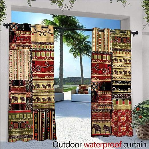 warmfamily - Cortinas de balcón Africano, diseño de Mapa con Iconos Tribales, Impermeables con Ojales: Amazon.es: Jardín