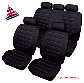 HEAVY DUTY UK MADE LEATHER LOOK CAR SEAT COVERS - FULL SET: Amazon