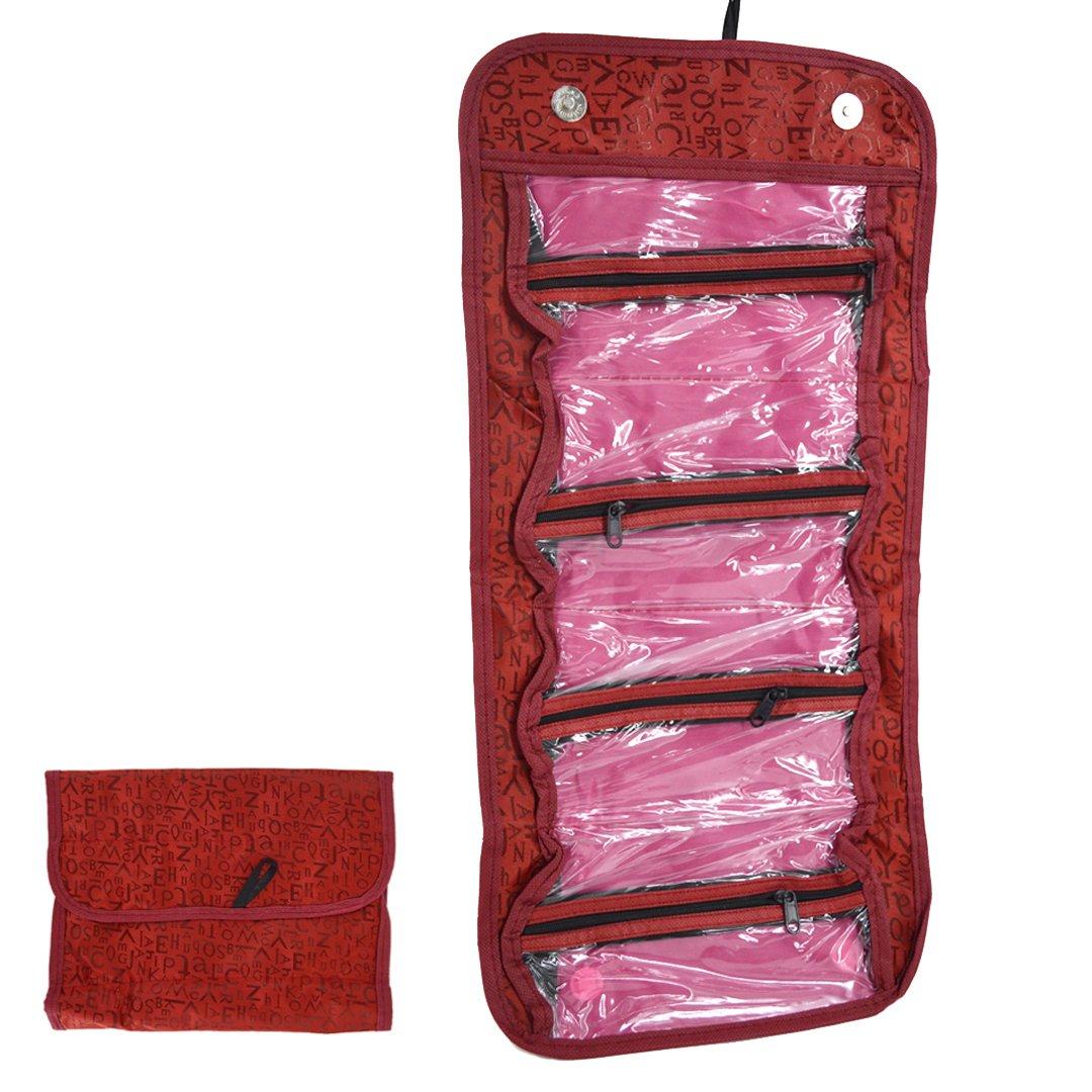 La haute à suspendre Sacs de toilette maquillage Organiseur Pochette Trousse de toilette de voyage pliable rouge Red