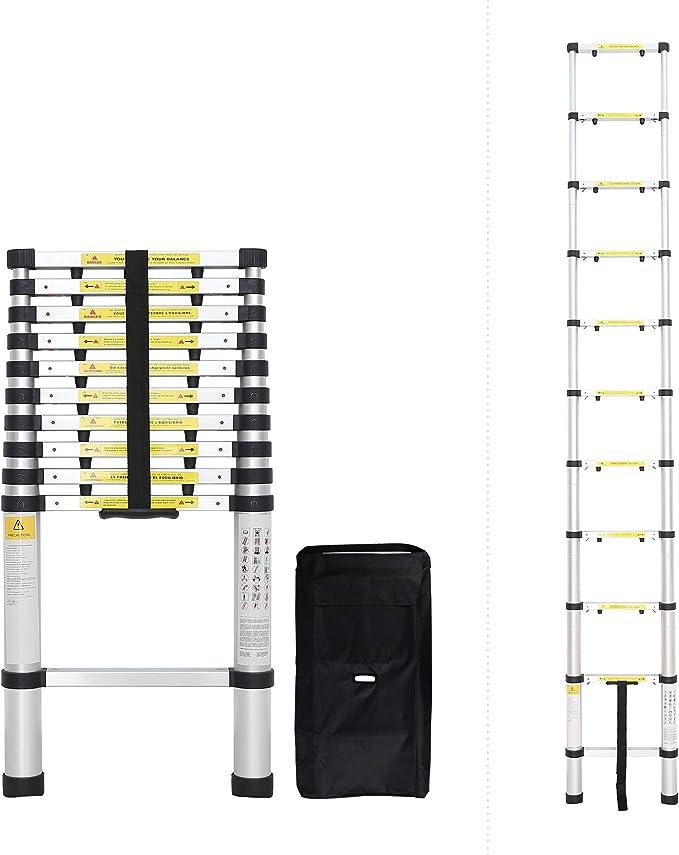 Todeco - Escalera Telescópica, Escalera Plegable - Carga máxima: 150 kg - Número de peldaños: 11-3,2 Metro(s), Brecha extra, Bolsa de transporte GRATIS, EN 131-6: Amazon.es: Bricolaje y herramientas