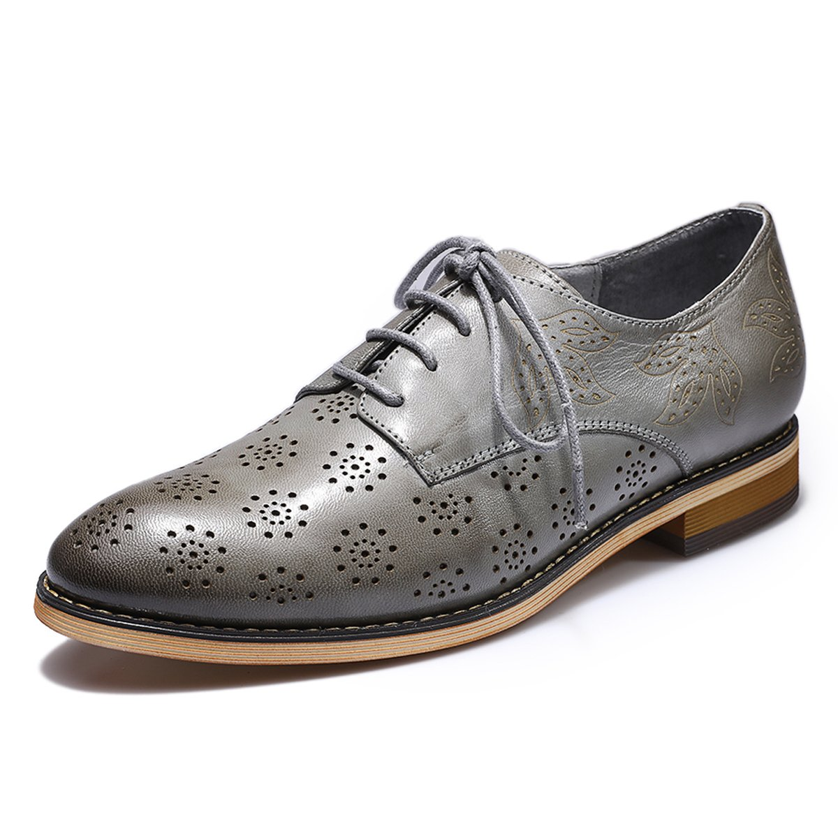 Mona Flying Women's Leather Flat Oxfords Shoes For Women Perforated Lace-up Wingtip Vintage Brogues Shoes,Grey,10 B(M) US by Mona Flying (Image #1)