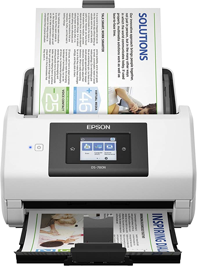 100-page Auto Document Feeder Duplex Scanning ADF Epson DS-730N Network Color Document Scanner