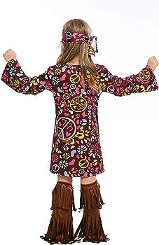Traje Hippie Nina Disfraz de Hippie para Ninas de Manga Larga ...