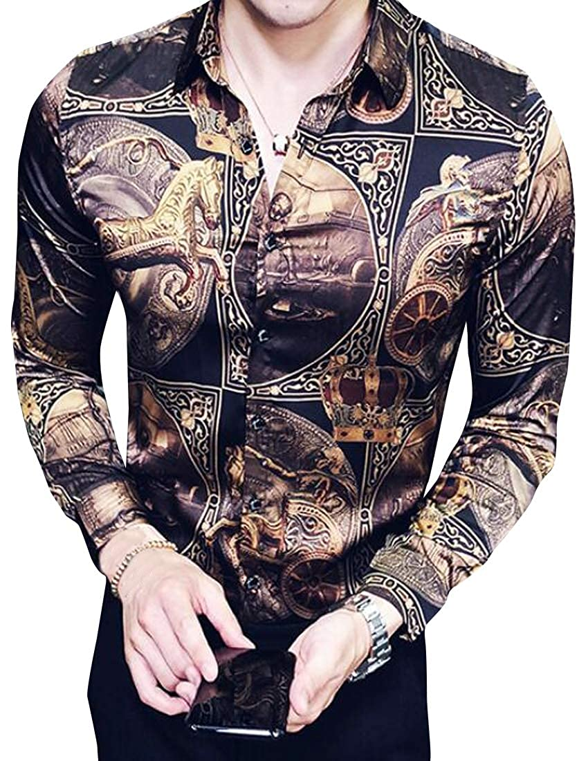 X-Future Mens Hair Stylist Work Lapel Club Long Sleeve Floral Button Down Blouse Shirt Tops