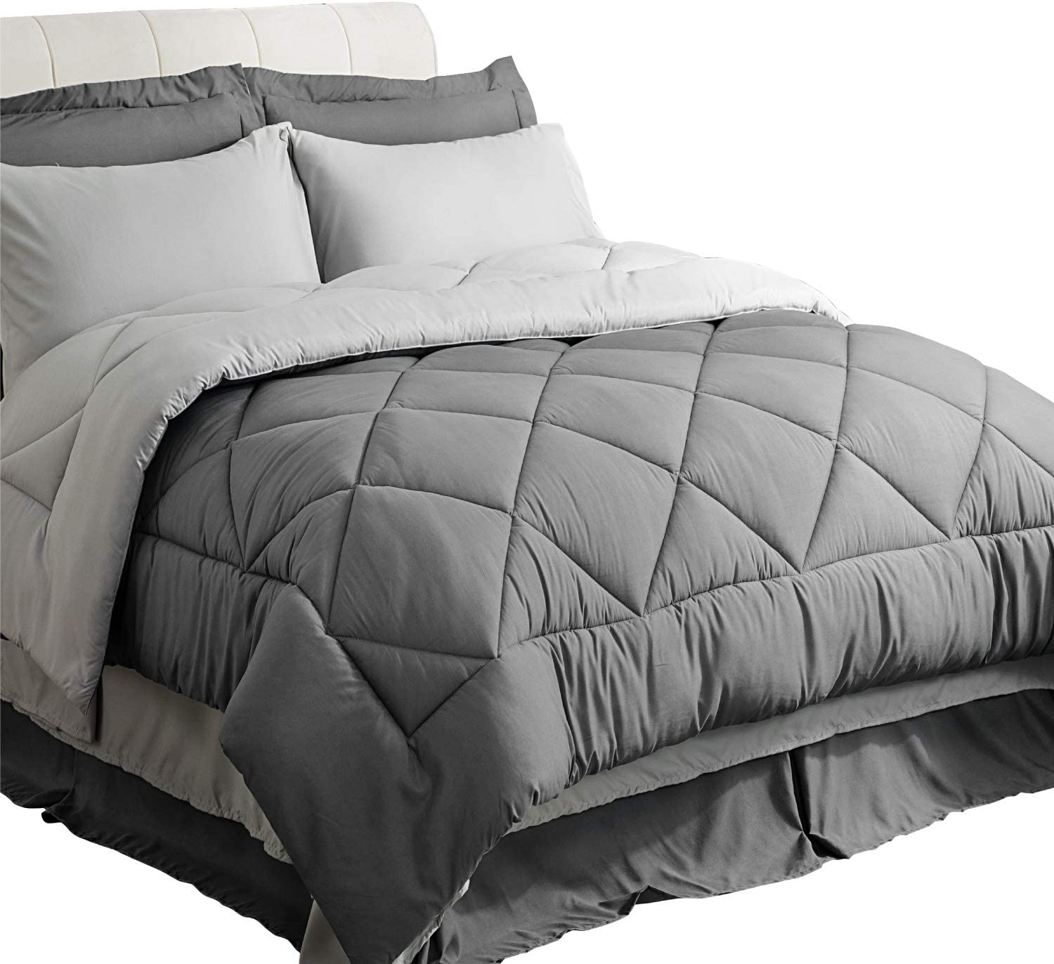 Amazon Com Bedsure Bedding Comforter Sets Queen Comforter Bed In A Bag 8 Pieces Grey Bedding Sets Queen With Comforter 1 Comforter 2 Pillow Shams 1 Flat Sheet 1 Fitted Sheet