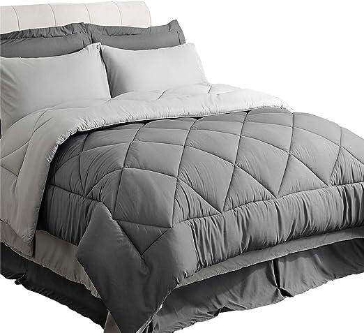Amazon.com: Bedsure Bed in a Bag 8 Pieces Queen Size, Dark Grey