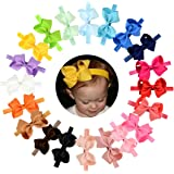 "WillingTee Headbands Baby Girl's/Toddlers Hair Bands, Headbands With Grosgrain Ribbon Boutique 4"" Hair Bows, 20 Piece"
