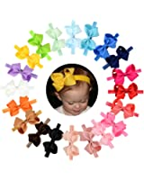 """Baby Headbands 20Pcs Baby Girls Toddlers Hair Bands Headbands with Grosgrain Ribbon Boutique 4"""" Hair Bows"""