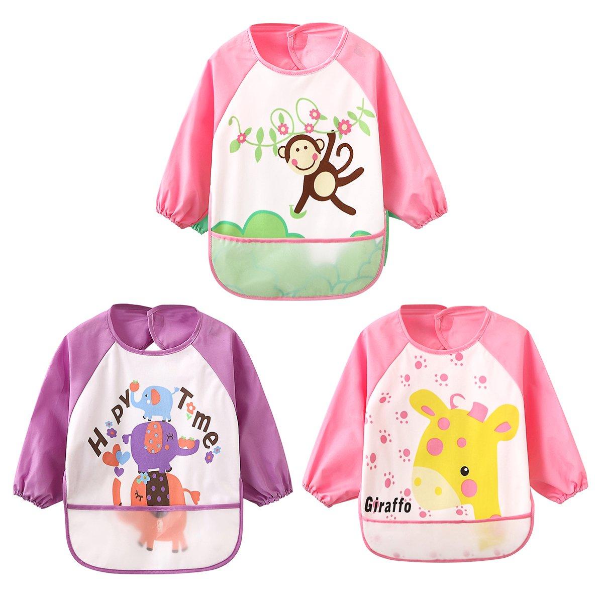 /Ärmel-L/ätzchen Waterproof Bib Babyl/ätzchen f/ür Kinder von 0-3 Jahren 3 pink set