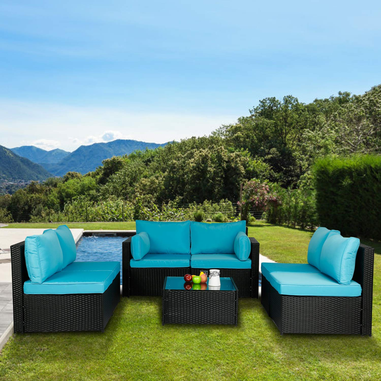 Aclumsy 7 Pieces Patio PE Rattan Sofa Set Outdoor Sectional Furniture Wicker Chair Conversation Set with Cushions and Tea Table Blue