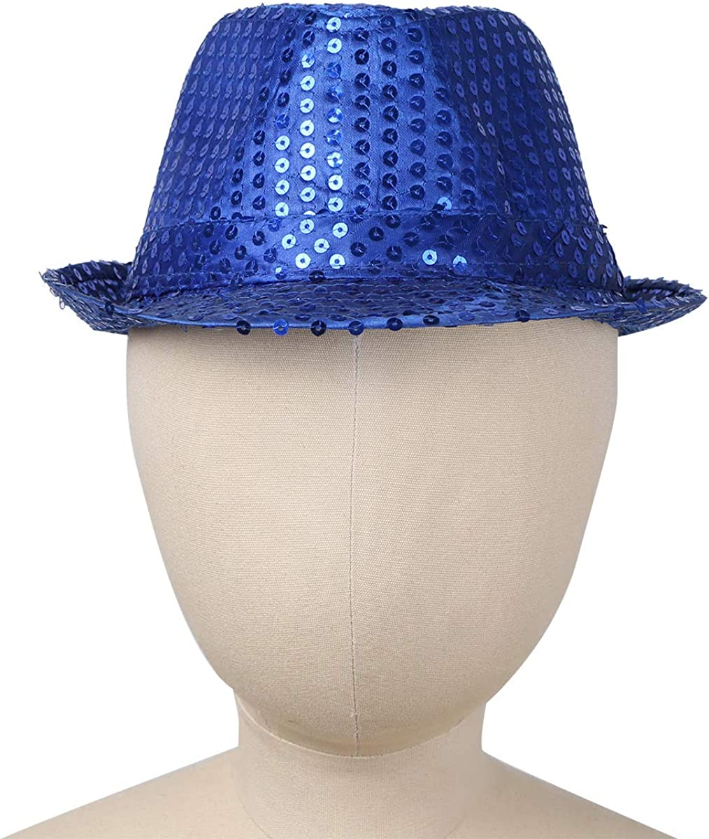 JEATHA Kids Girls Boys Glittering Sequins Pure Color Hip Hop Jazz Dancewear Cap Street Dancing Accessories Fedora Hat