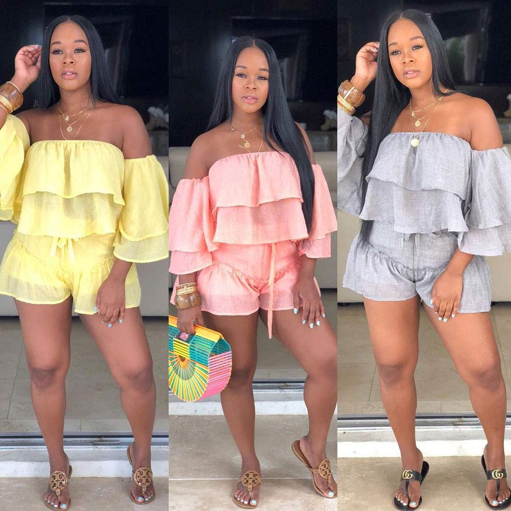 Womens 2 Piece Outfits - Cute Off Shoulder Ruffle Tops + Shorts Suit Sets Yellow