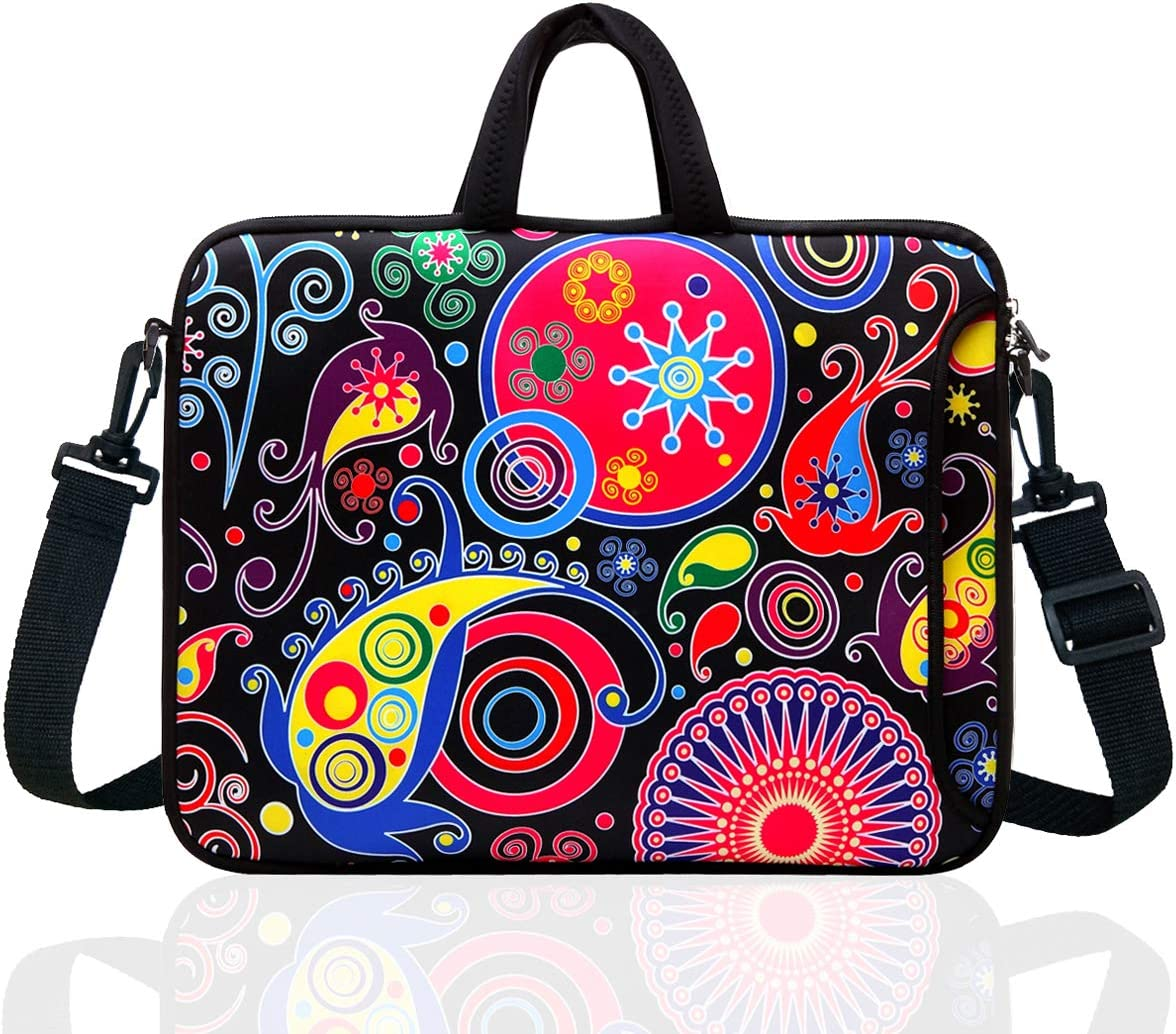 """14-Inch Laptop Shoulder Bag Sleeve Case with Handle for 13"""" 13.3"""" 14"""" 14.1"""" Netbook/MacBook Air Pro (Classic Colourful)"""