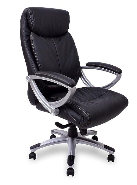 Ergonomischer bürostuhl  Kijng Chefsessel Kings - Schwarz Silber Echtes Leder Ergonomischer  Bürostuhl Schreibtischstuhl Drehstuhl Sessel Stuhl