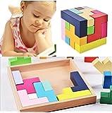 知育玩具 木製 テトリス パズル ブロック モンテソッリー教具 kimurea select 教育 形合わせ おもちゃ (カラフル)