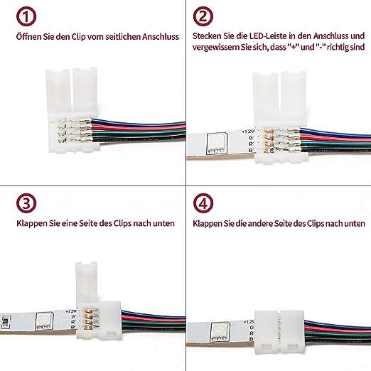 enth/ält 8 Arten von l/ötfreien LED Eckverbinder und bietet die DIY von meisten Teile f/ür LED Streifen Verbinder 4 polig LED Strip Verbinder