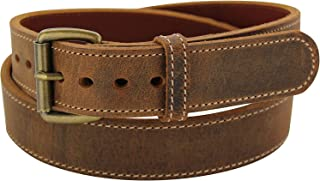 product image for Rustic Brown Stitched Water Buffalo Steel Core Gun Belt - Made in USA
