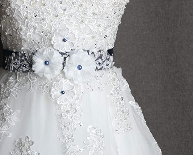 074307505 Amazon.com: Wedding sash, Swarovski blue pearl belt, Wedding dress sash  belt, Navy ribbon belt, Prom dress sash, Bridesmaid Ribbon sash: Handmade