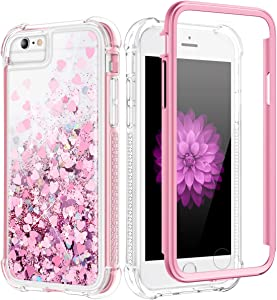 Caka Glitter Case for iPhone SE 2020, iPhone 6 6S 7 8 Glitter Case Bling Shiny Women Girls Full Body Heavy Duty Protective Liquid Love Clear Girly Case for iPhone 6 6S 7 8 SE 2020 4.7 inch (Rose Gold)