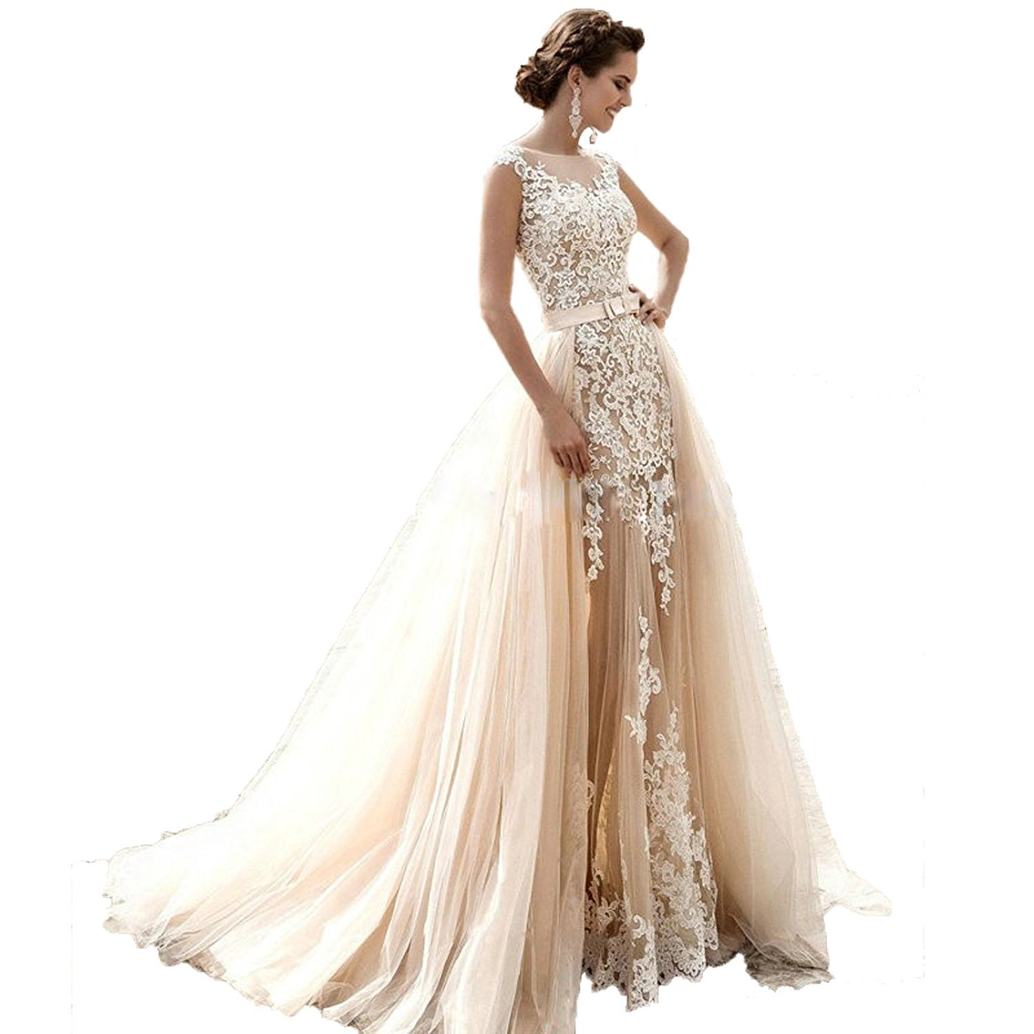 Angel Formal Dresses Women's Jewel Appliques Lace Mermaid Detachable Train Tulle Wedding Dress(4,Champagne)