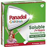 Panadol Children 7+ Years Fever & Pain Relief Strawberry Soluble Tablets, 16 count