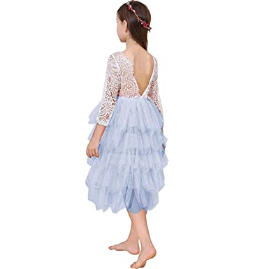 b6c2edaa5d167 Miss Bei Lace Back Flower Girl Dress,Kids Cute Backless Dress Toddler Party  Tulle Tutu