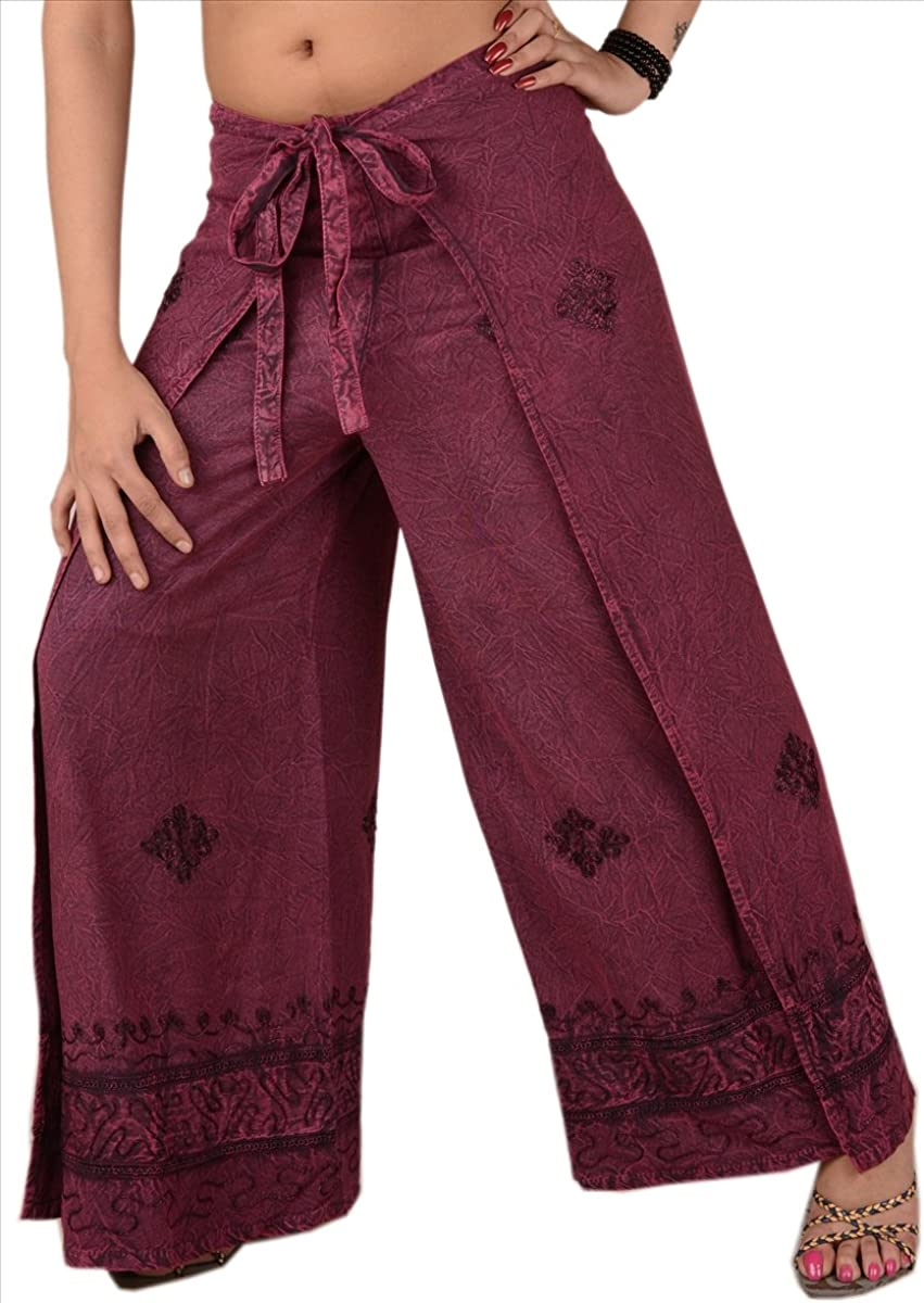 Skirts N Scarves Womens Embroidered Rayon Wrap//Palazzo Pant Grey